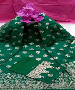 গ্রীন কালার আনস্টিচড স্কিন প্রিন্ট কটন থ্রি পিস