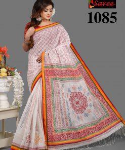 পিওর কটন হ্যান্ড ব্লক সাদা লাল শাড়ি 1085
