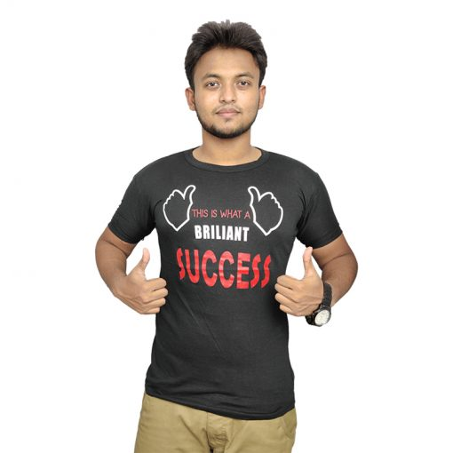 BRILIANT SUCCESS প্রিন্টেড হাফ হাতা কালো কটন টি শার্ট