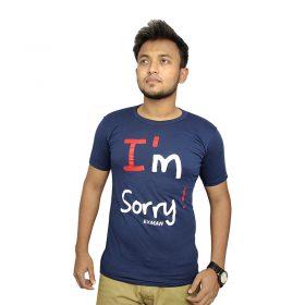 নেভি ব্লু I'M SORRY প্রিন্টেড হাফ হাতা কটন টি শার্ট