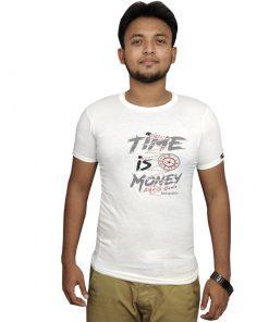 সাদা TIME IS MONEY প্রিন্টেড রাওন্ড নেক কটন টি শার্ট