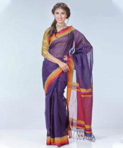 বেগুনী আকর্ষনীয় ব্লক তাতের কটন শাড়ি DS105