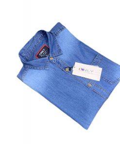 Denim Navy Blue with Gray Cotton Full Sleeve Shirt for Men