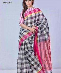 সাদা কালো চেকের পিওর সুতি তাতের শাড়ি DS152
