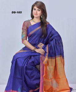 নেভি ব্লু সফট মনিপুরি তসর সিল্কের শাড়ি DS165