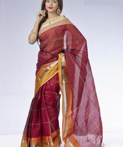 মেরুন কালার সফট তাত কটন শাড়ি DS183