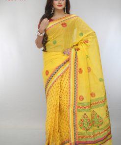 হলুদ স্পেশাল ব্লক প্রিন্ট কটন শাড়ি DS241