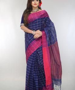 নেভি ব্লু সফট তাত কটন শাড়ি DS245