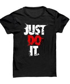 Just Do It ক্যাজুয়াল ডিজাইন গোল গলা হাফ হাতা মিক্সড কটন টি শার্ট