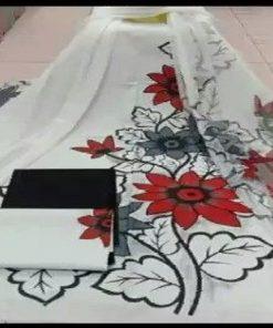 মাল্টি কালার আনস্টিচড হ্যান্ড ব্লক প্রিন্ট কটন সালোয়ার কামিজ