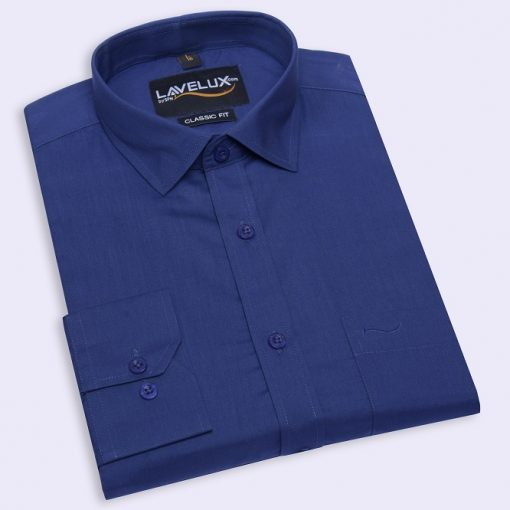 Classic navy blue color lavelux half sleeve formal shirt