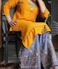 আকর্ষনীয় লিনেন কাপড় এমব্রয়ডারি কুর্তি এবং পালাজো সেট