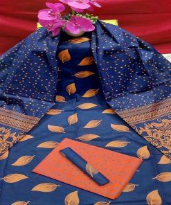 মেয়েদের নেভি ব্লু কালার আনস্টিচড স্কিন প্রিন্ট কটন থ্রি পিস