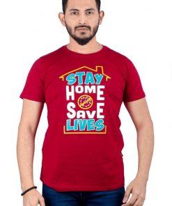Stay home Save lives গোল গোলা কটন টি শার্ট ফর জেন্টস