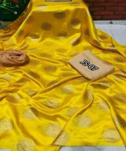 Original Unstitched Japanese Silk Yellow Color Three Piece