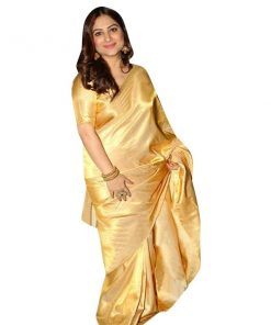 Glossy Golden Color Japanese Soft Silk Sari With Blouse Piece