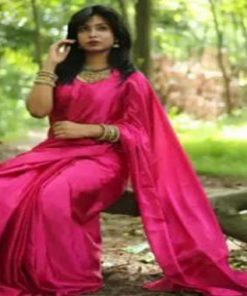রানী গোলাপি কালার মেয়েদের সফট সিল্ক জাপানি শাড়ি