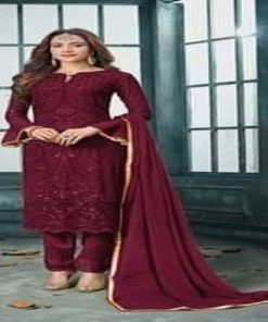 Attractive Maroon Color Unstitched Georgette Embroidery Three Piece