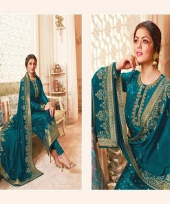 Attractive Green Color Soft Georgette Unstitched Embroidery Three Piece