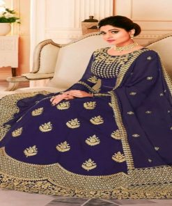 Original Weightless Georgette Navy Blue Color Unstitched Embroidery Gown