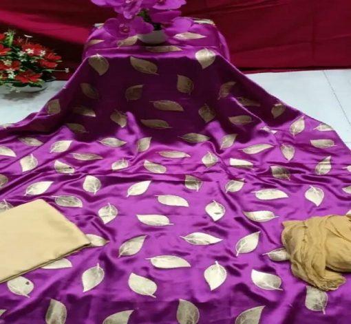 Original Japanese Silk Unstitched Salwar Kameez Three Piece
