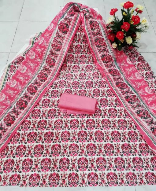 Pink Color Pure Cotton Unstitched Screen Print Three Piece