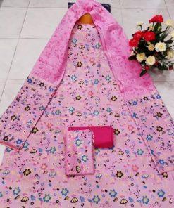 Ladies Light Pink Unstitched Skin Print Cotton Three Piece