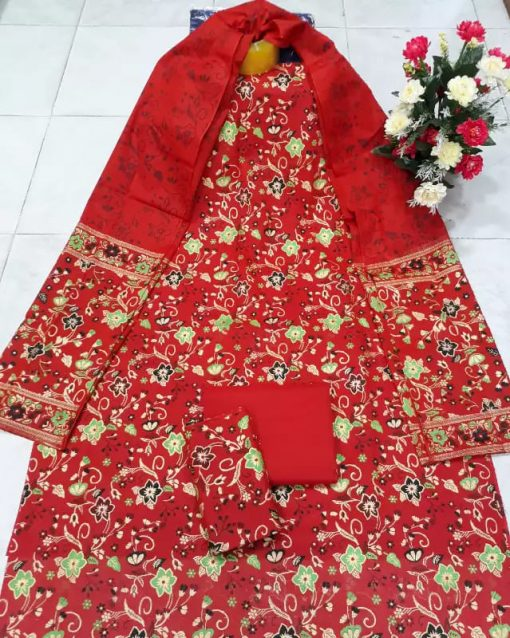 Fashionable Red Color Unstitched Skin Print Cotton Three Piece
