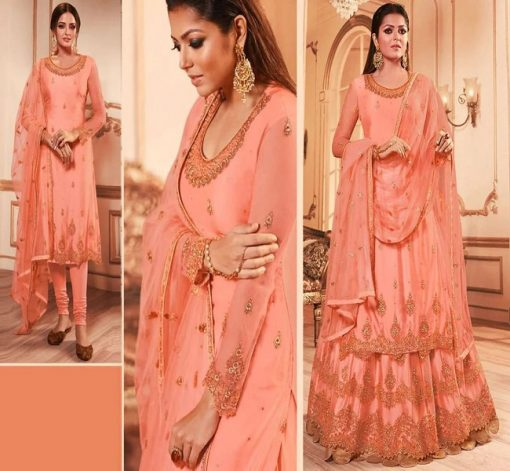 Bangi Color Semistached Georgette Embroidery Sharara Suit