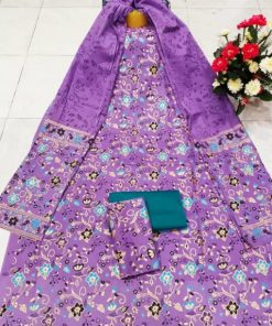 Classic Unstitched Lavender Color Skin Print Cotton Three Piece