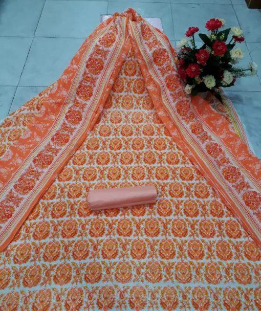 Original Skin Print Unstitched Cotton Three Piece Salwar Kameez