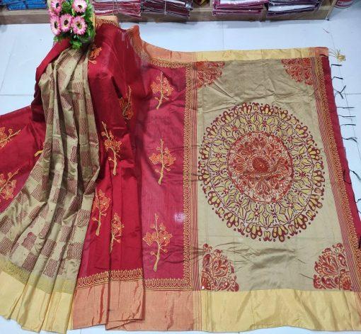 Multi Color Cotton Dollar Embroidery Block Print Sari For Ladies