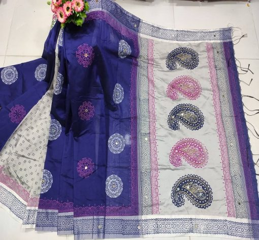 Brand New Collection Multi Color Cotton Dollar Embroidery Block Print Sari