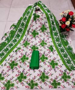 Trendy looking multi color unstitched screen print cotton three piece