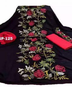 Unique Design Black Color Classic Dollar Embroidery Georgette Unstitched Three Piece