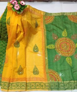 Attractive Yellow And Green Color Dollar Embroidery Block Print Cotton Sari For Ladies