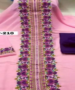 Original Pink Color Indian Wetless Georgette Embroidered Unstitched Three Piece