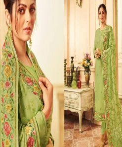 Original Soft Weightless Georgette Olive Color Unstitched Embroidery Three Piece