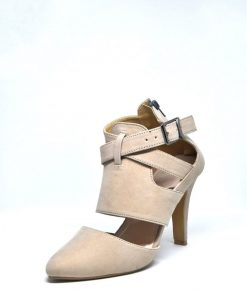 Gorgeous Cream Color Leather Stiletto Ankle Strap Heel Shoe