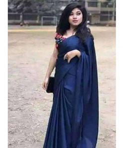 মেয়েদের নীল কালার সফট সিল্ক জাপানি শাড়ি