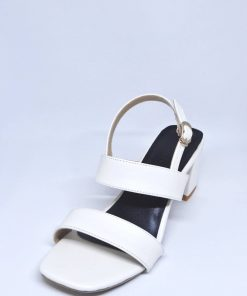 Perfect fitting white color square toe shaped block heel shoe