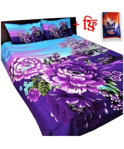 Eye Catching Lotus Print Double Size Cotton 2 Piece Pillow with Matching Bed Sheet