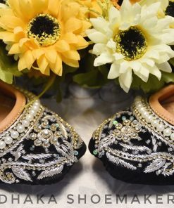 Traditional Square To Shaped Sequence Embroidery Nagra Shoes For Women