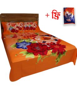 Double Size Orange Color Digital Flower Print Cotton 2 Piece Pillow Cover With Matching Bed Sheet
