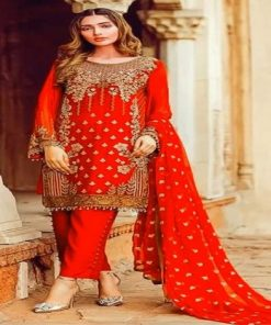 Original Soft Weightless Georgette Unstitched Embroidery Three Piece Salwar Kameez