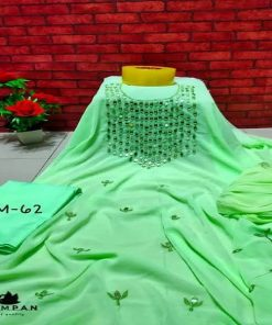 Girls Casual Light Green Color Dollar Embroidery Georgette Unstitched Three Piece