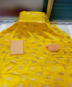 Fashionable Yellow Color Original Japanese Silk Skin Print Salwar Kameez
