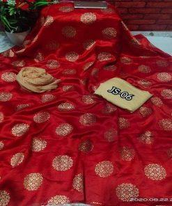 Trendy Japanese Original Silk Red Color Salwar Kameez Three Piece