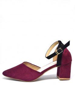 Girls Street Style Marriott Maroon Color Toe Shaped Block Heel Shoe