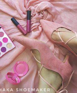 Custom Made Pink Color Ballerina Kitten Heel Shoe